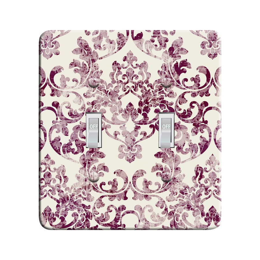 Embossi Printed Rococco Faded Damask - Glistening Grape - Light Switch / Outlet Cover Custom Plate Choose Style, 0110 LC