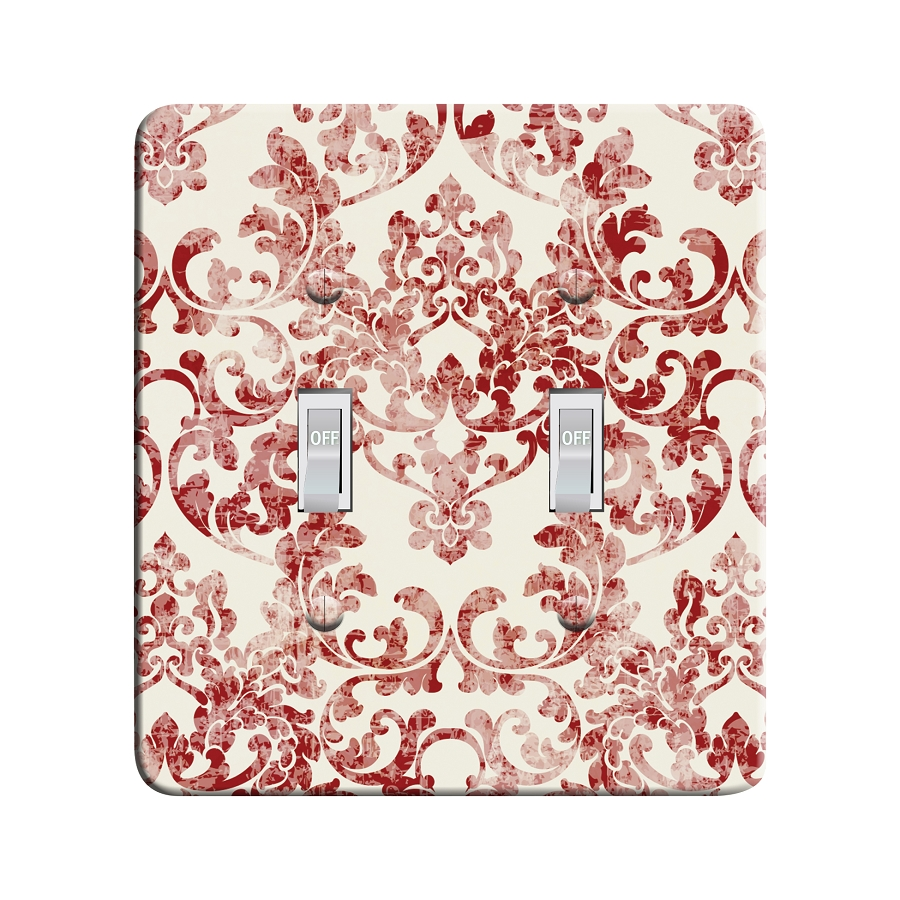Embossi Printed Rococco Faded Damask - Space Cherry - Light Switch / Outlet Cover Custom Plate Choose Style, 0110 LD