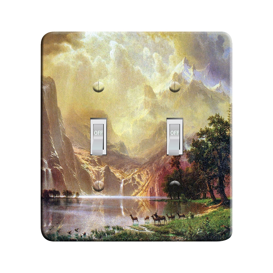 Embossi Printed  Between the Sierra Nevada Mountains by Bierstadt - Light Switch / Outlet Cover Custom Plate Choose Style, 115 D