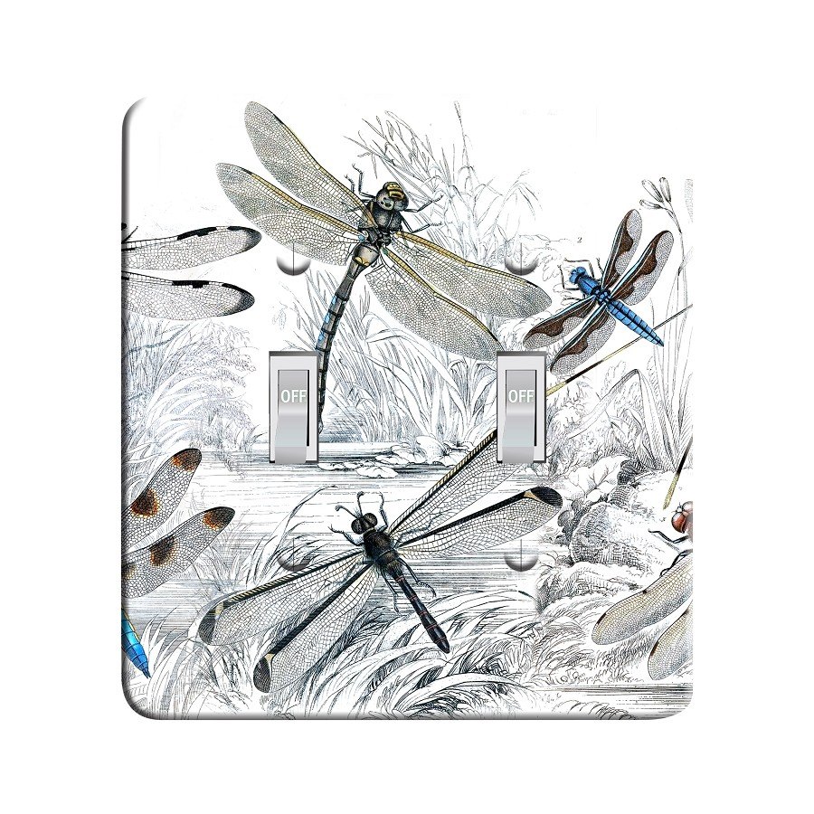 Embossi Printed  Vintage Dragonflies - Light Switch / Outlet Cover Custom Plate Choose Style, 1160