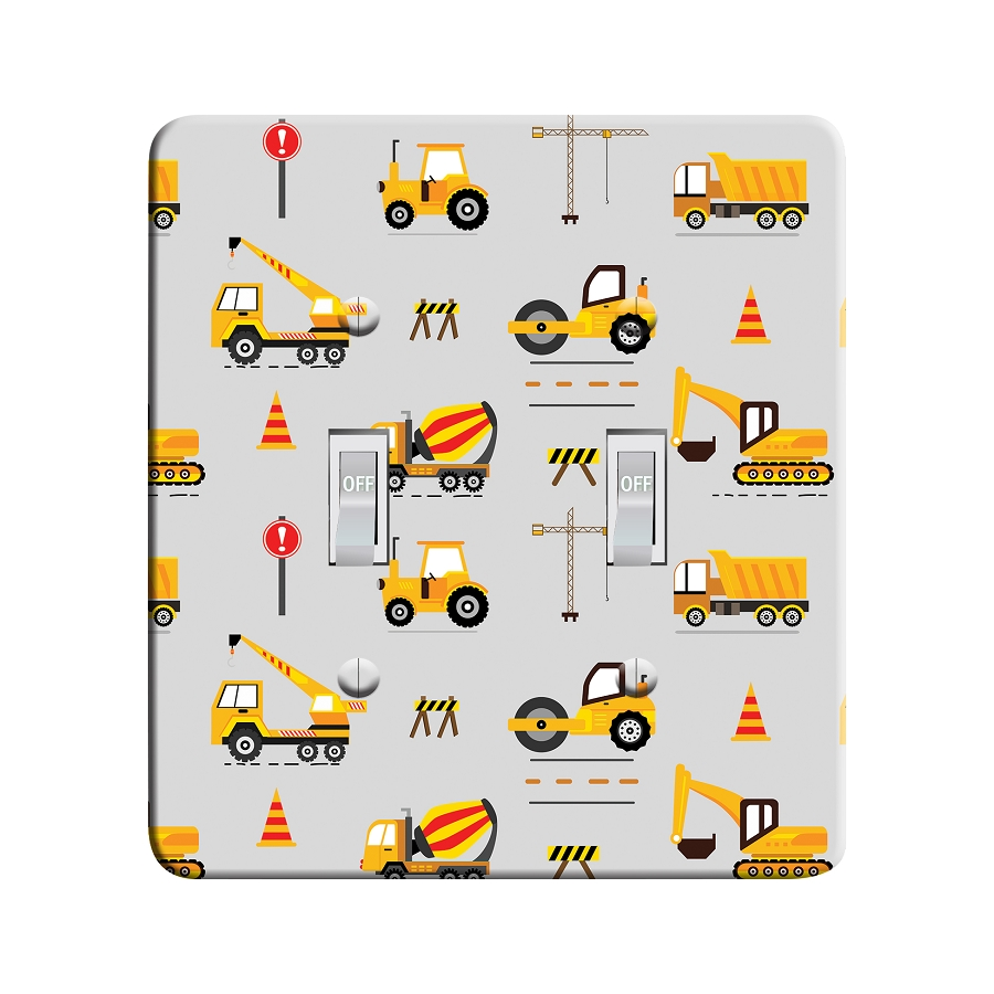 Embossi Printed Kid's Construction Tractors and Trucks - Light Switch / Outlet Cover Custom Plate Choose Style, 0119 L
