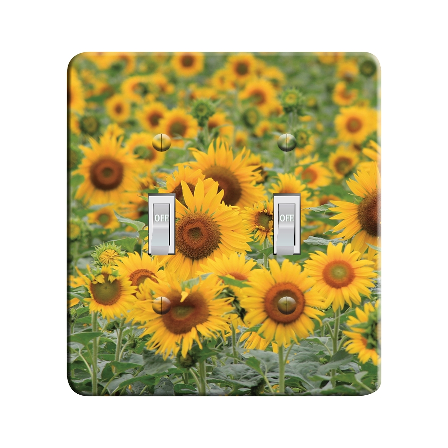 Embossi Printed Sunflower Fields- Light Switch / Outlet Cover Custom Plate Choose Style, 12 D