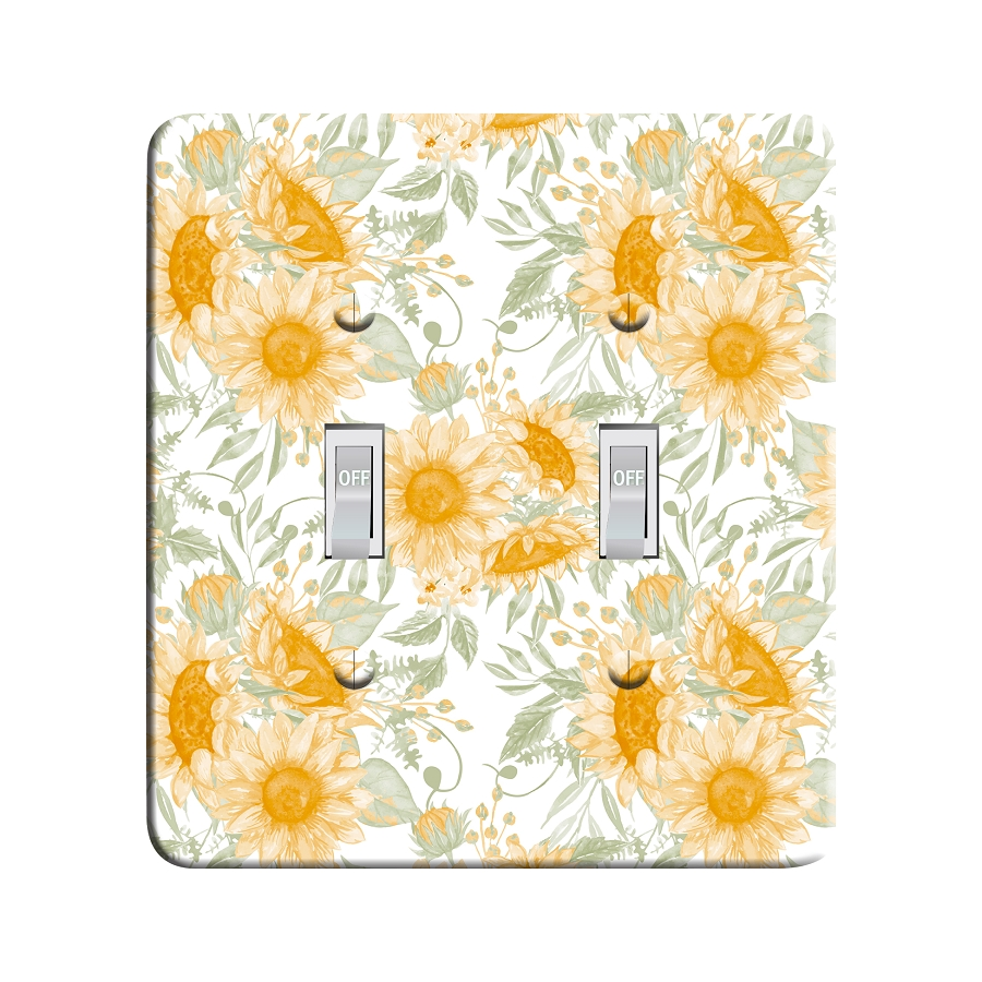 Embossi Printed Maxi Metal Sunflower Pattern Plate - Light Switch / Outlet Cover Custom Plate Choose Style, 0012 DC