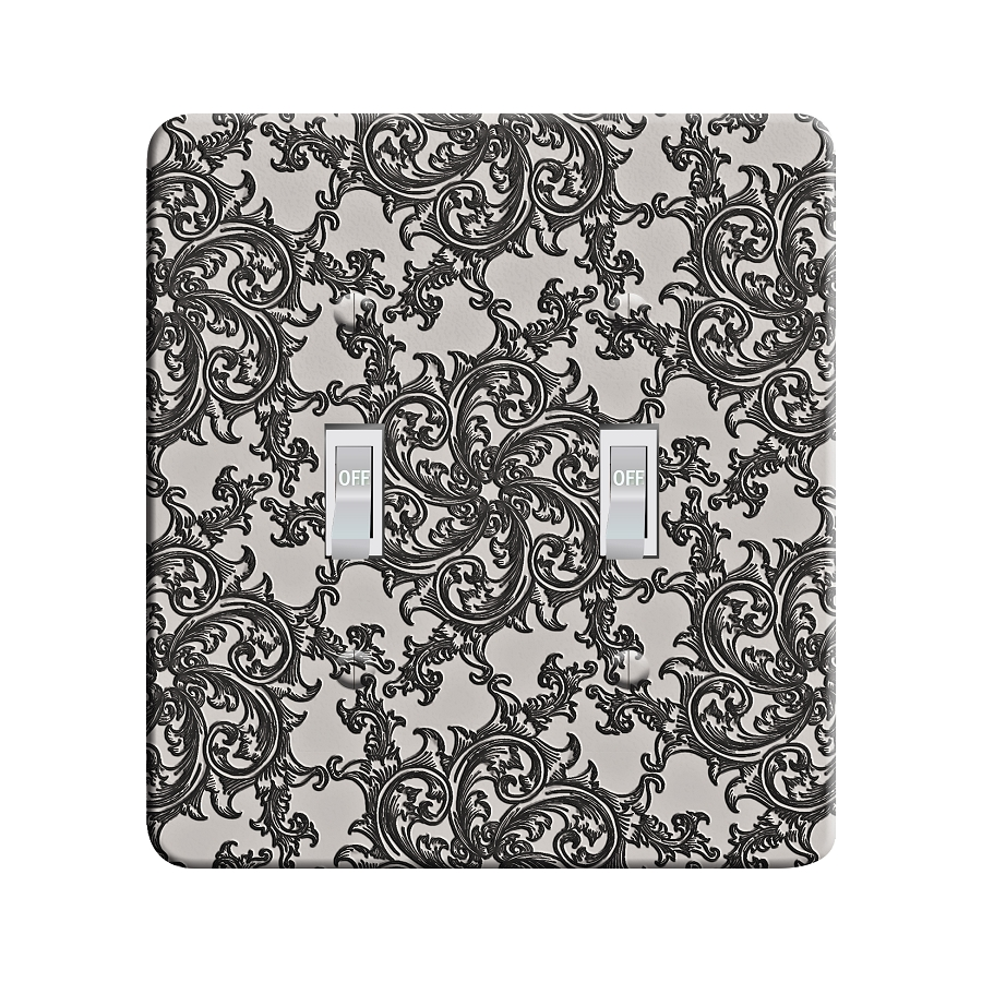 Embossi Printed Platinum Medieval Flourish Pattern- Light Switch / Outlet Cover Custom Plate Choose Style, 15 D 2