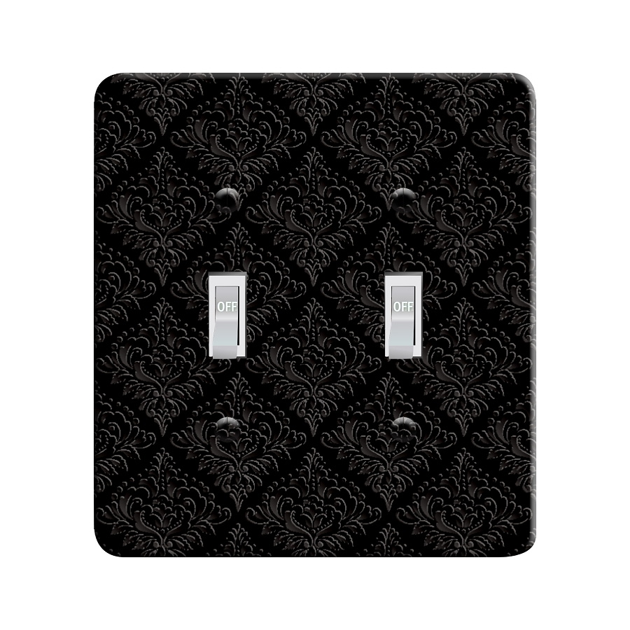 Embossi Printed Maxi Metal Black Damask - Light Switch / Outlet Cover Custom Plate Choose Style, 00166 L