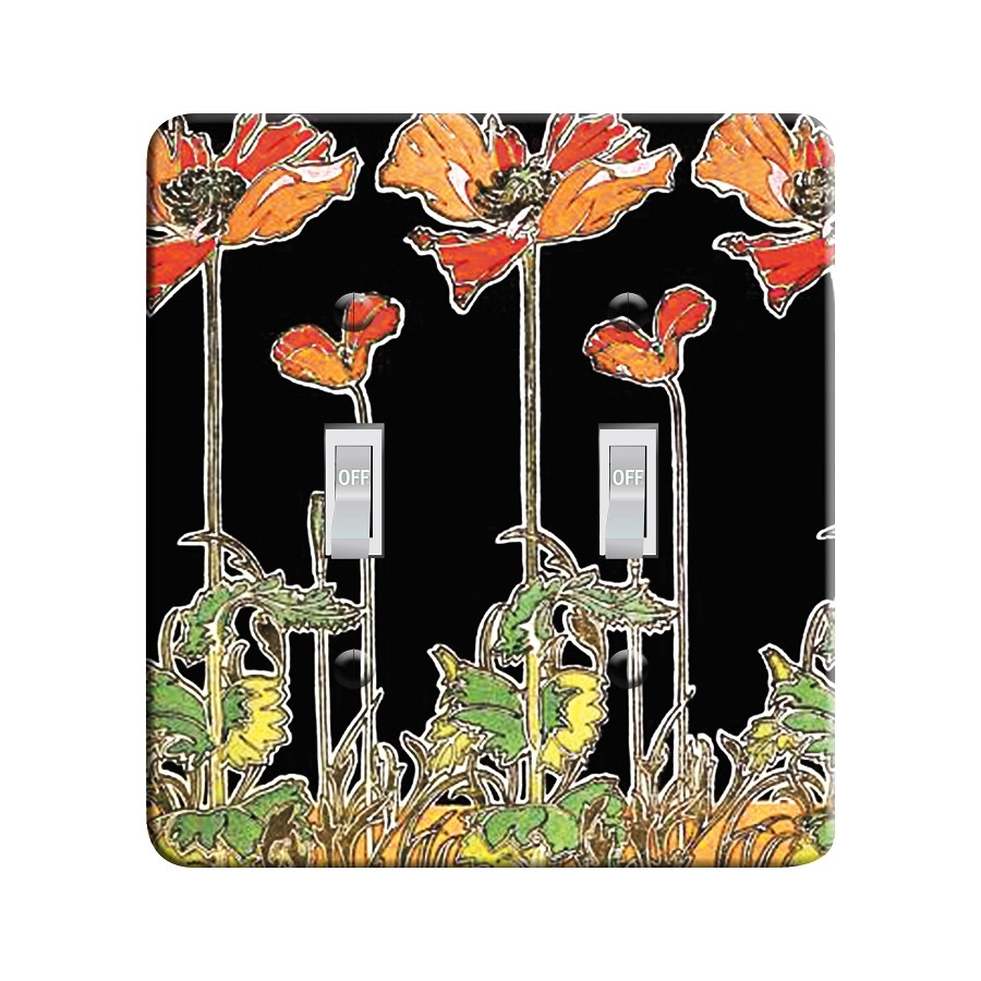 Embossi Printed Mucha Poppies - Light Switch / Outlet Cover Custom Plate Choose Style, 20 D