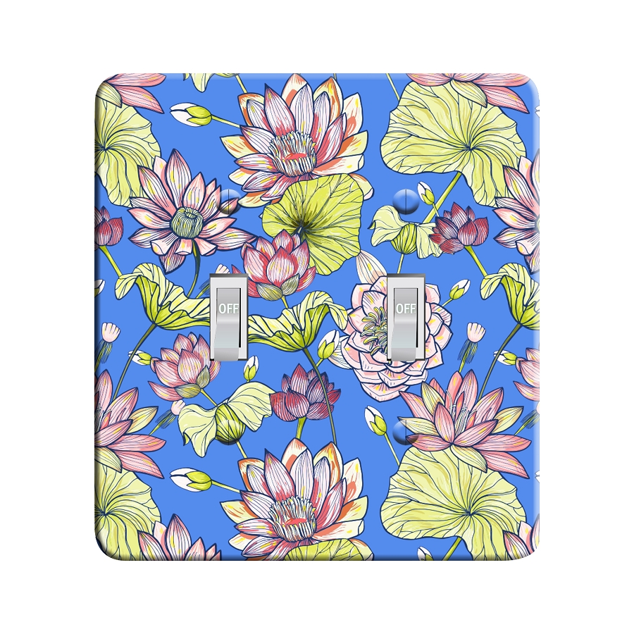 Embossi Printed Maxi Metal Waterlily Pattern Plate - Light Switch / Outlet Cover Custom Plate Choose Style, 0021 DB