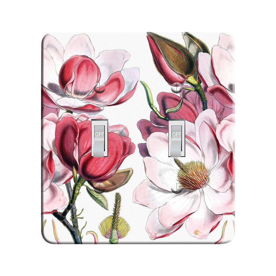 Embossi Printed Maxi Metal Magnolia Botanical Plate - Light Switch / Outlet Cover Custom Plate Choose Style, 0021 L