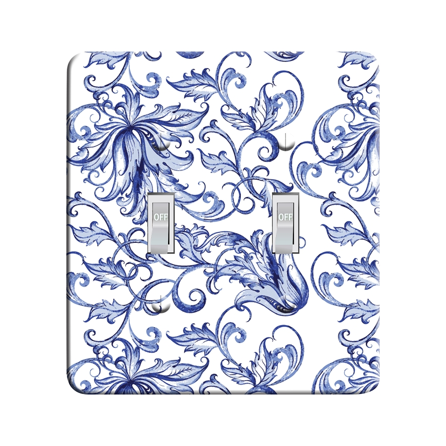 Embossi Printed Blue and White Porcelain Pattern - Light Switch / Outlet Cover Custom Plate Choose Style, 03 D