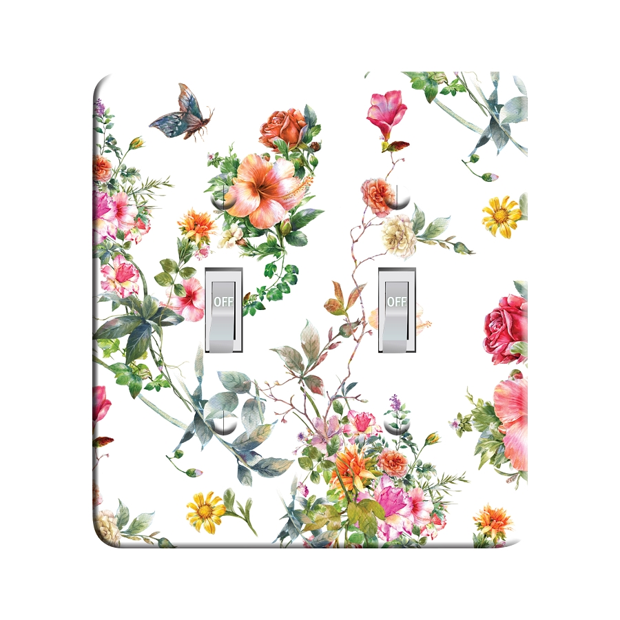 Embossi Printed Flowers & Butterfly - Light Switch / Outlet Cover Custom Plate Choose Style, 0301 L