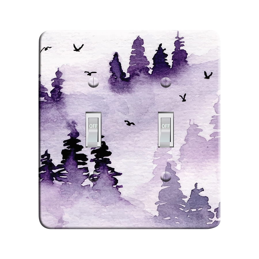 Embossi Printed Maxi Metal Purple Mist Watercolor Pine Forest Plate - Light Switch / Outlet Cover Custom Plate Choose Style, 0368 L