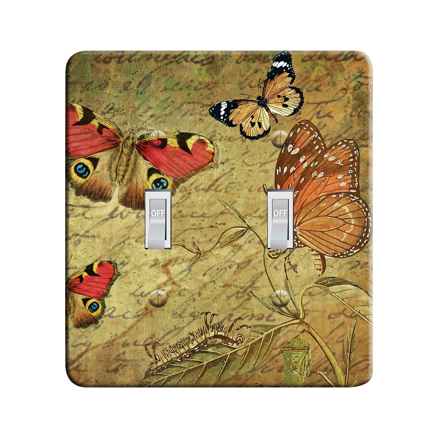 Embossi Printed Vintage Butterflies - Light Switch / Outlet Cover Custom Plate Choose Style, 04 D