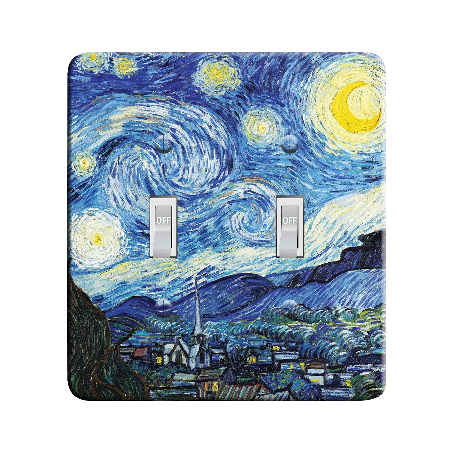 Embossi Printed Van Gogh Starry Night- Light Switch / Outlet Cover Custom Plate Choose Style, 41 D