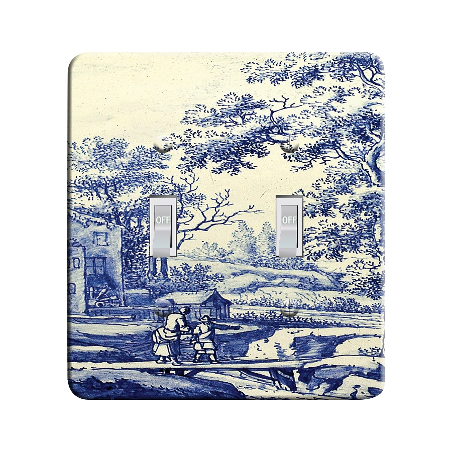 Embossi Printed Delft Blue and White Light Switch / Outlet Cover Custom Plate Choose Style, 43 D