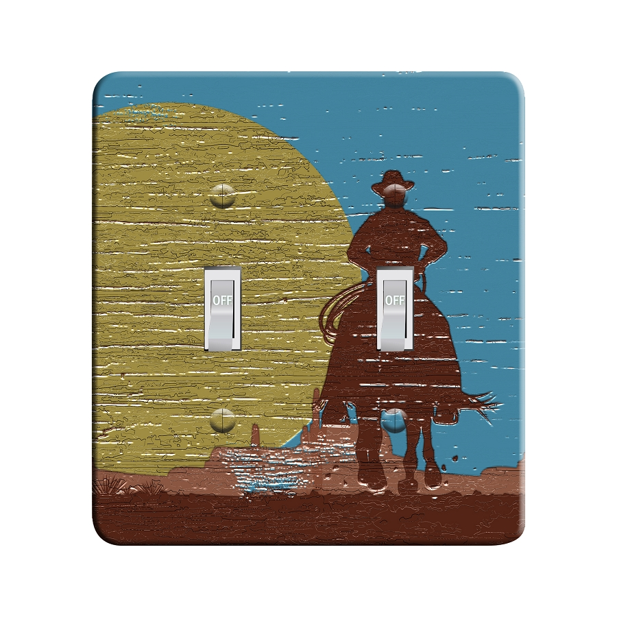 Embossi Printed Western Cowboy Sunset - Light Switch / Outlet Cover Custom Plate Choose Style, 48 LA