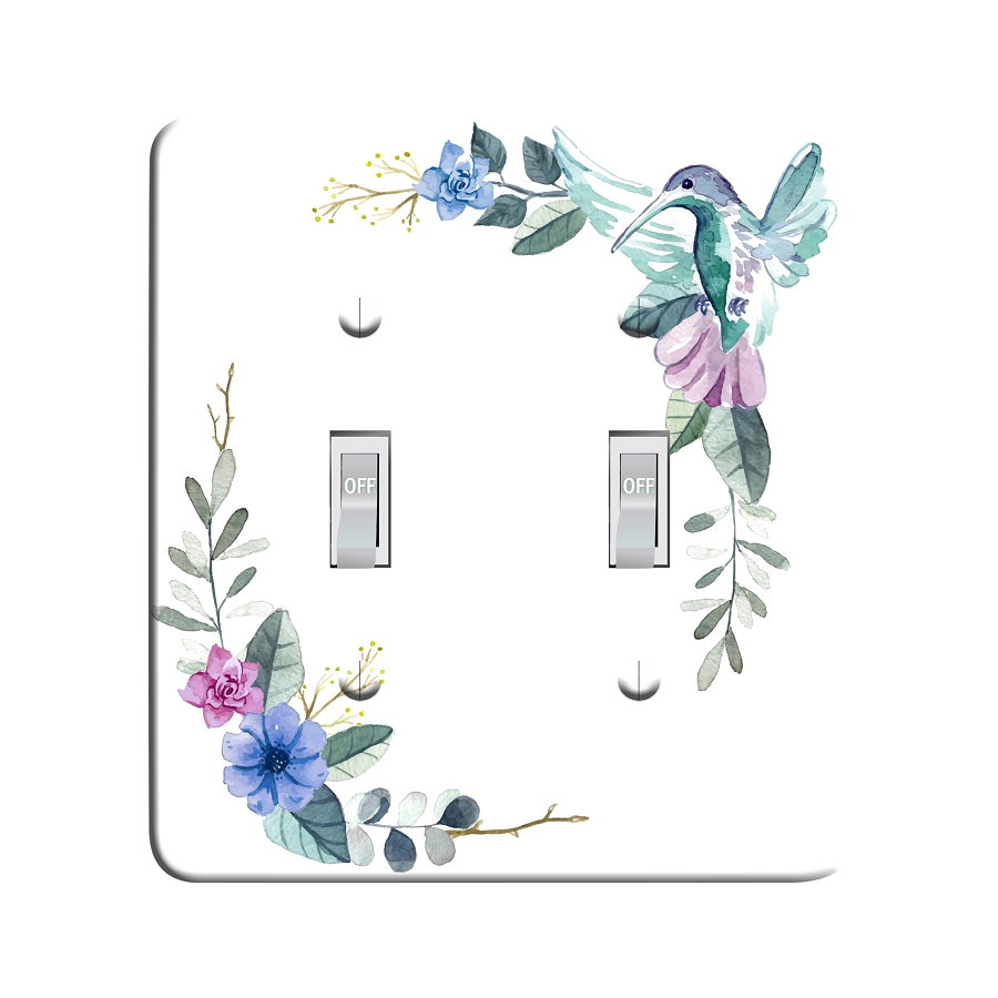 Embossi Printed Watercolor Hummingbird Light Switch / Outlet Cover Custom Plate Choose Style, 489