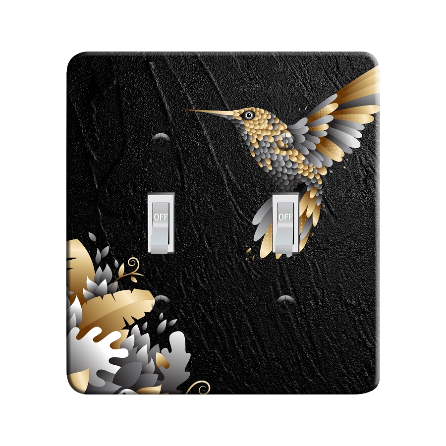 Embossi Printed Golden Hummingbird Light Switch / Outlet Cover Custom Plate Choose Style, 492