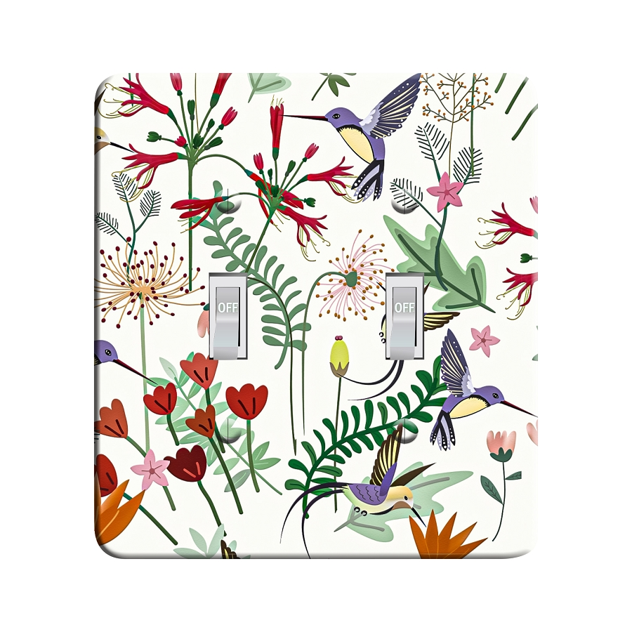 Embossi Printed Sweet Flower Hummingbird Light Switch / Outlet Cover Custom Plate Choose Style, 494