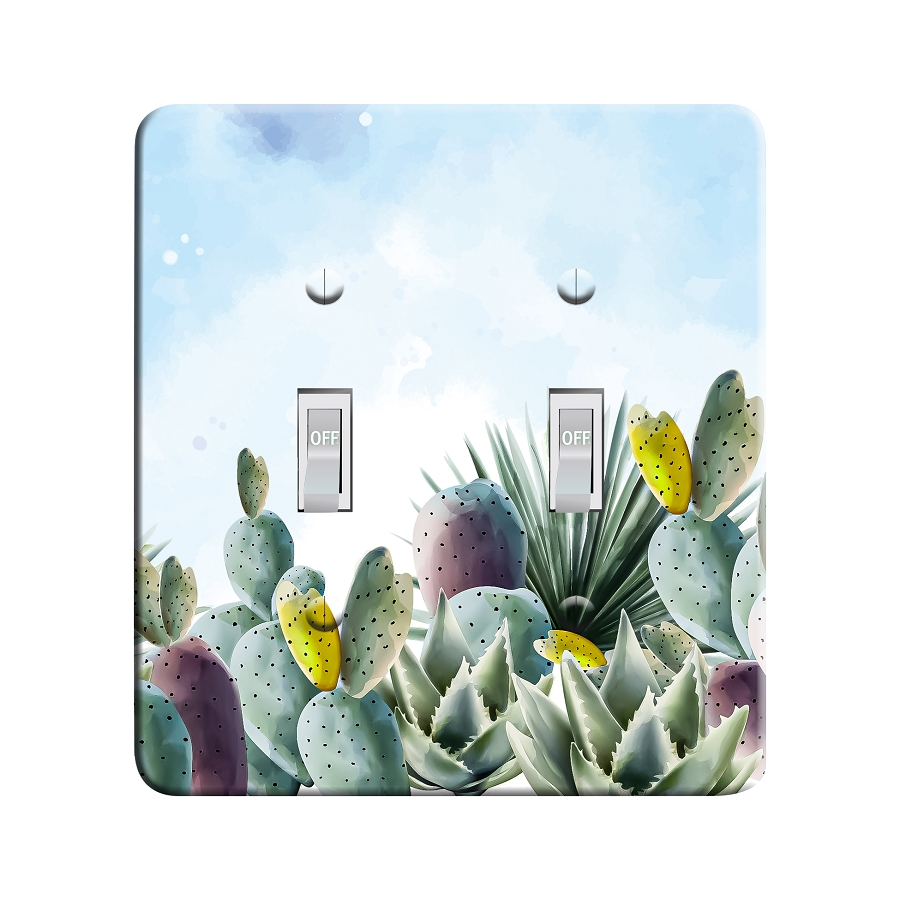 Embossi Printed Watercolor Cactus Light Switch / Outlet Cover Custom Plate Choose Style, 496
