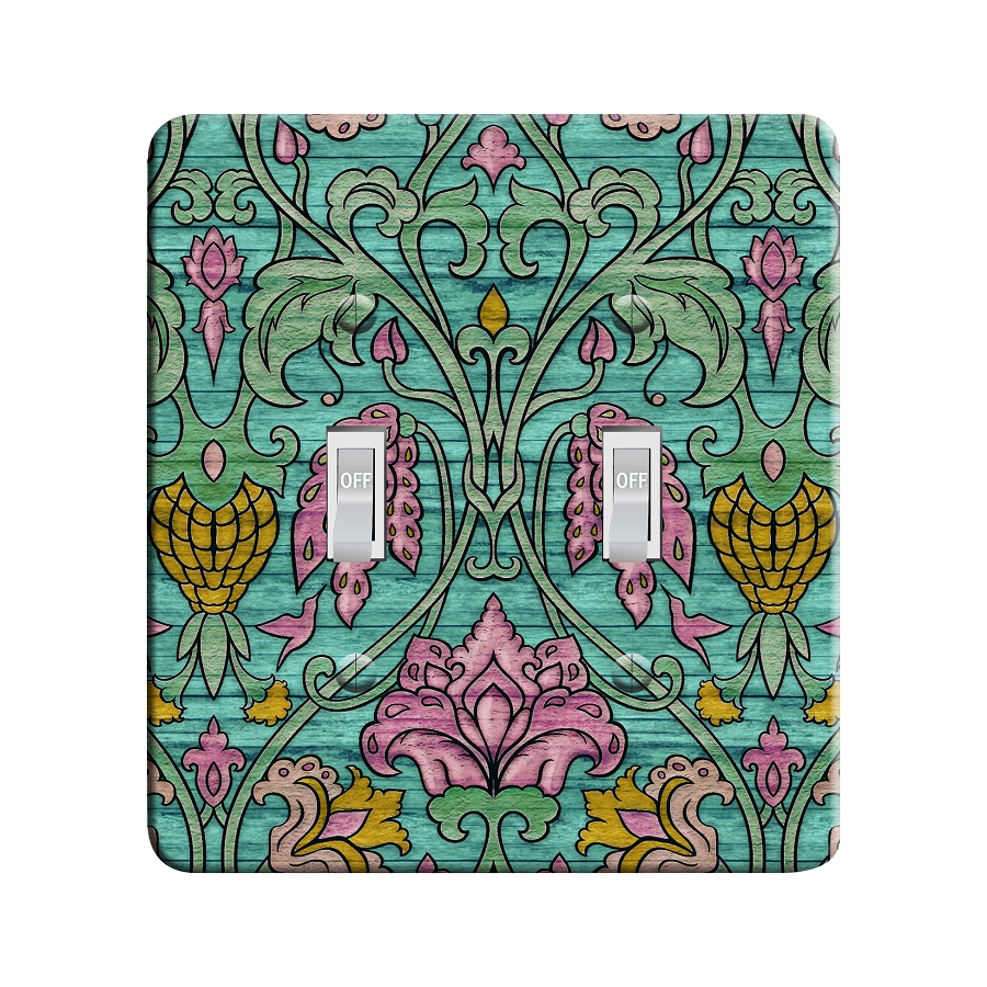 Embossi Printed Happy Color Art Nouveau Pattern Light Switch / Outlet Cover Custom Plate Choose Style, 497