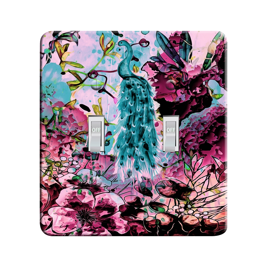 Embossi Printed Watercolor Peacock Light Switch / Outlet Cover Custom Plate Choose Style, 498