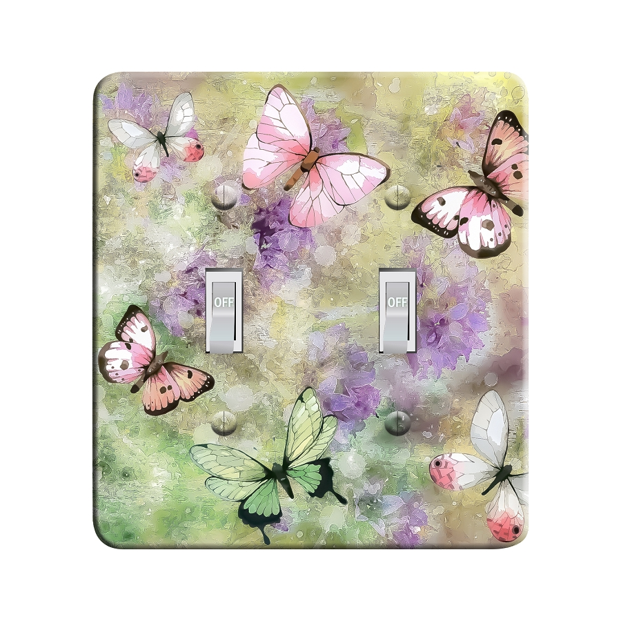 Embossi Printed Watercolor Butterfly Light Switch / Outlet Cover Custom Plate Choose Style, 499