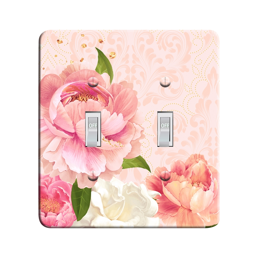 Embossi Printed Peony Damask Light Switch / Outlet Cover Custom Plate Choose Style, 500