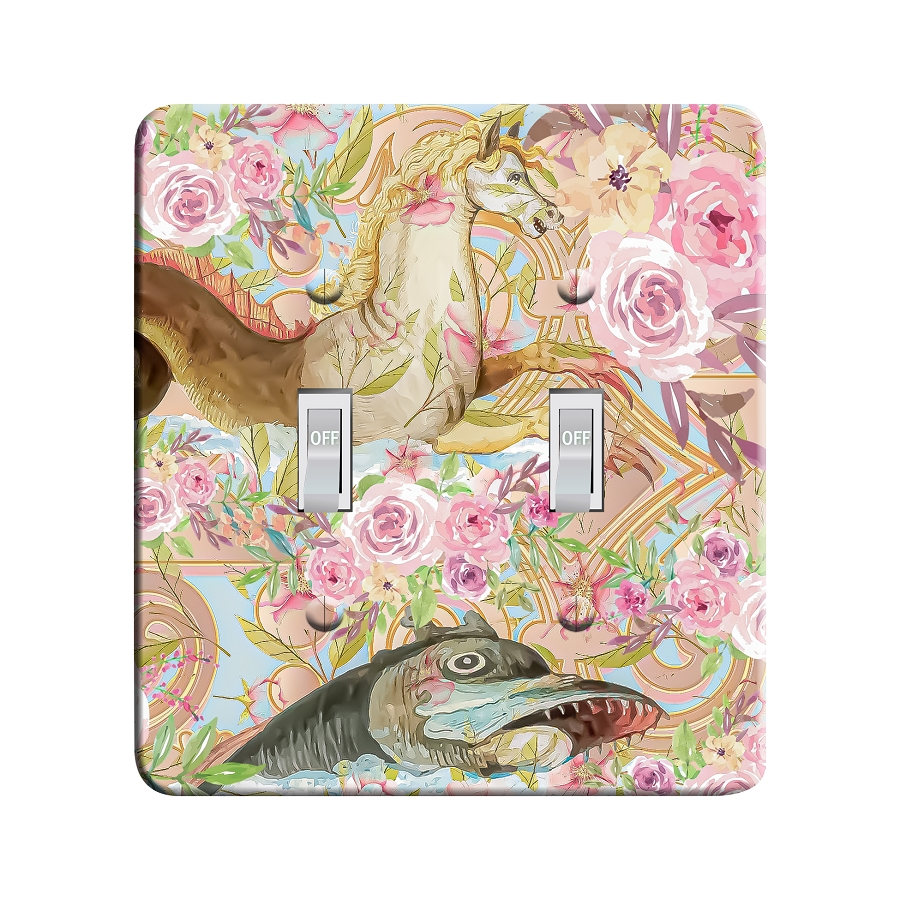 Embossi Printed Hippocampus Light Switch / Outlet Cover Custom Plate Choose Style, 502