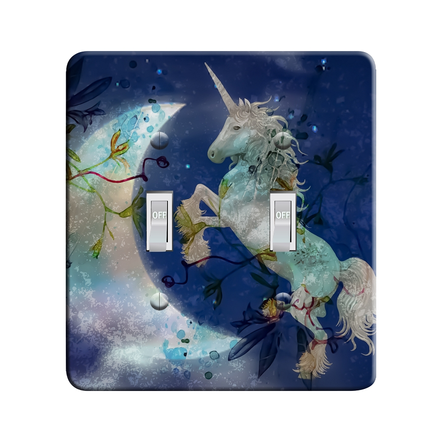 Embossi Printed Moonlight Unicorn Light Switch / Outlet Cover Custom Plate Choose Style, 503