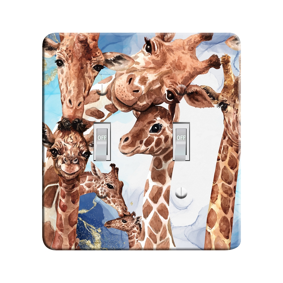 Embossi Printed Watercolor Giraffe Light Switch / Outlet Cover Custom Plate Choose Style, 504