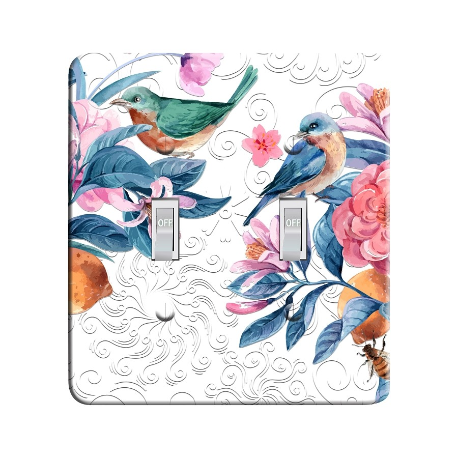 Embossi Printed Maxi Metal Birds and Blooms Plate - Light Switch / Outlet Cover Custom Plate Choose Style, 0513 L