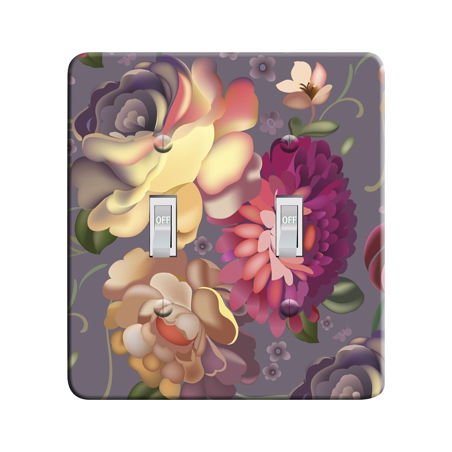 Embossi Printed Maxi Metal Russian Zhostovo Style Flowers Plate - Light Switch / Outlet Cover Custom Plate Choose Style, 0514 L