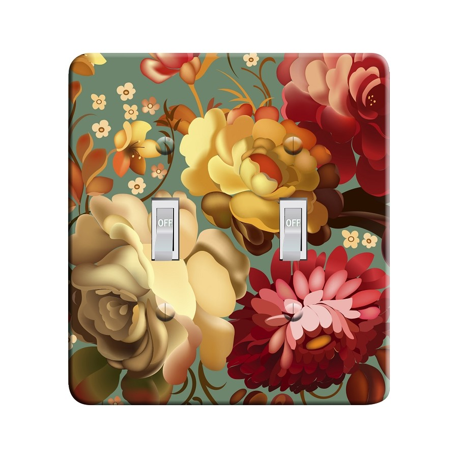 Embossi Printed Maxi Metal Russian Zhostovo Style Bouquet Plate - Light Switch / Outlet Cover Custom Plate Choose Style, 0515 L