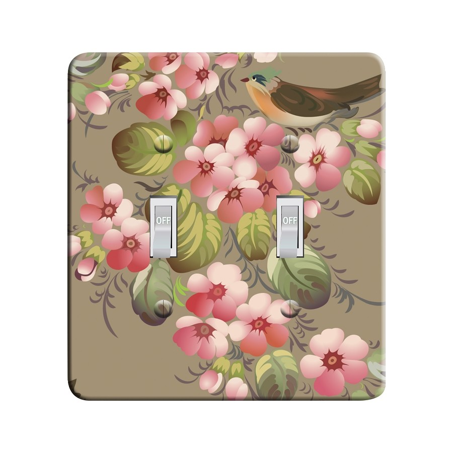 Embossi Printed Maxi Metal Russian Zhostovo Bird and Flowers Plate - Light Switch / Outlet Cover Custom Plate Choose Style, 0516 L