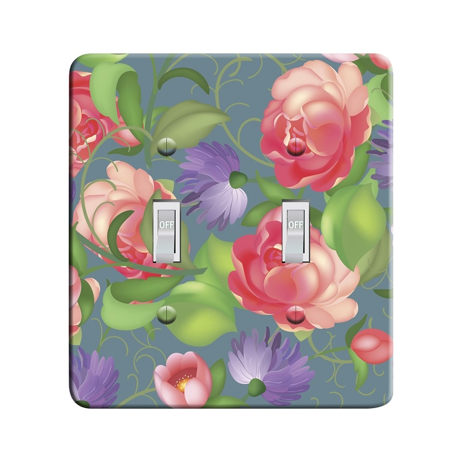 Embossi Printed Maxi Metal Russian Zhostovo Roses Pattern Plate - Light Switch / Outlet Cover Custom Plate Choose Style, 0517 L