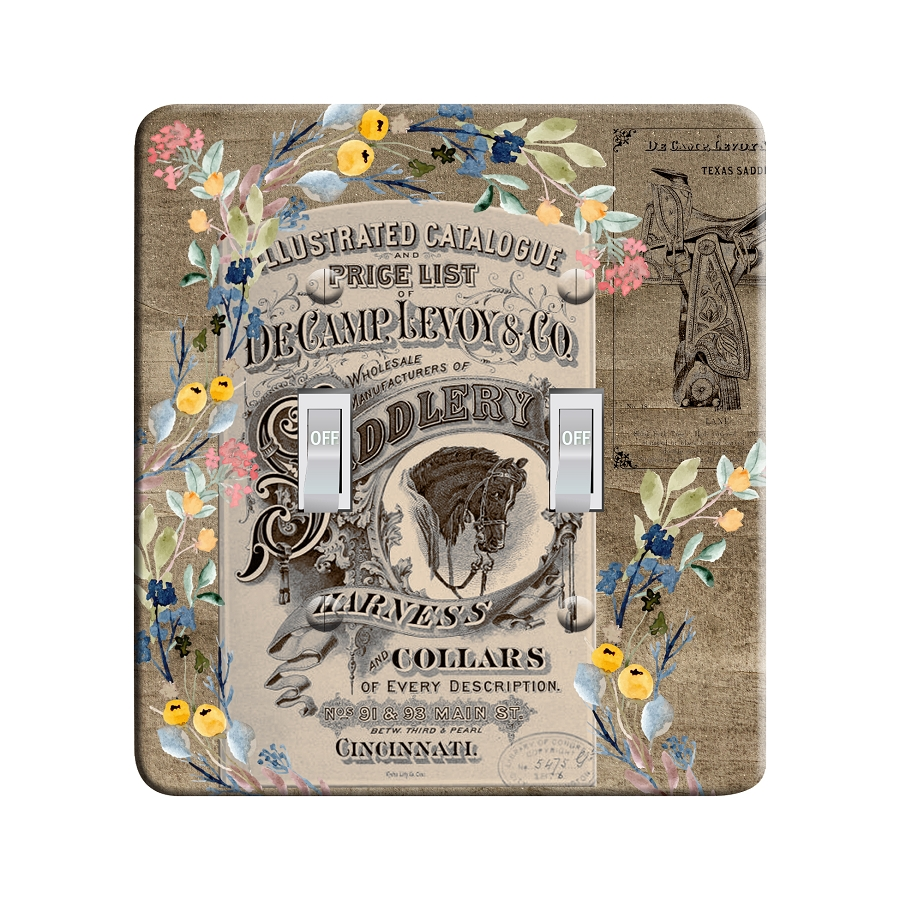 Embossi Printed Maxi Metal Vintage Saddle Ad Collage Pattern Plate - Light Switch / Outlet Cover Custom Plate Choose Style, 0518 L