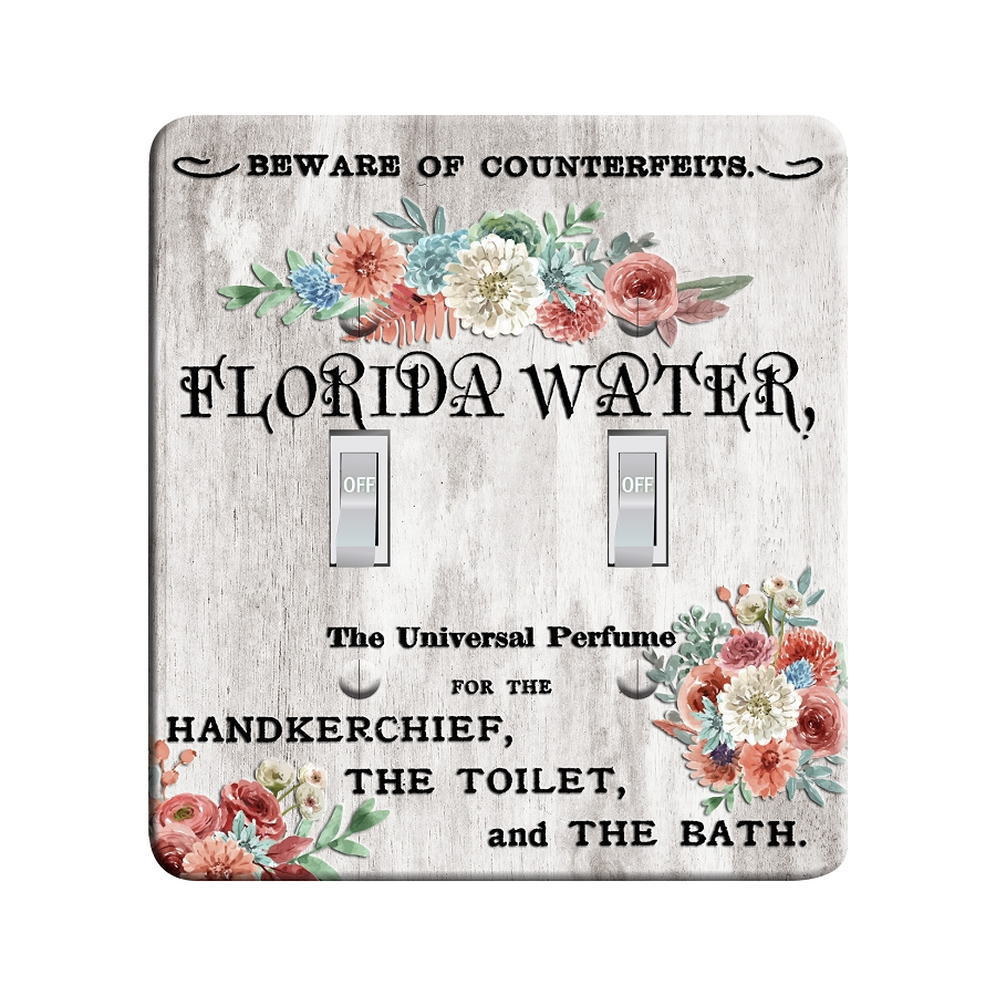 Embossi Printed Maxi Metal Vintage Florida Water Ad Collage Plate - Light Switch / Outlet Cover Custom Plate Choose Style, 0519 L