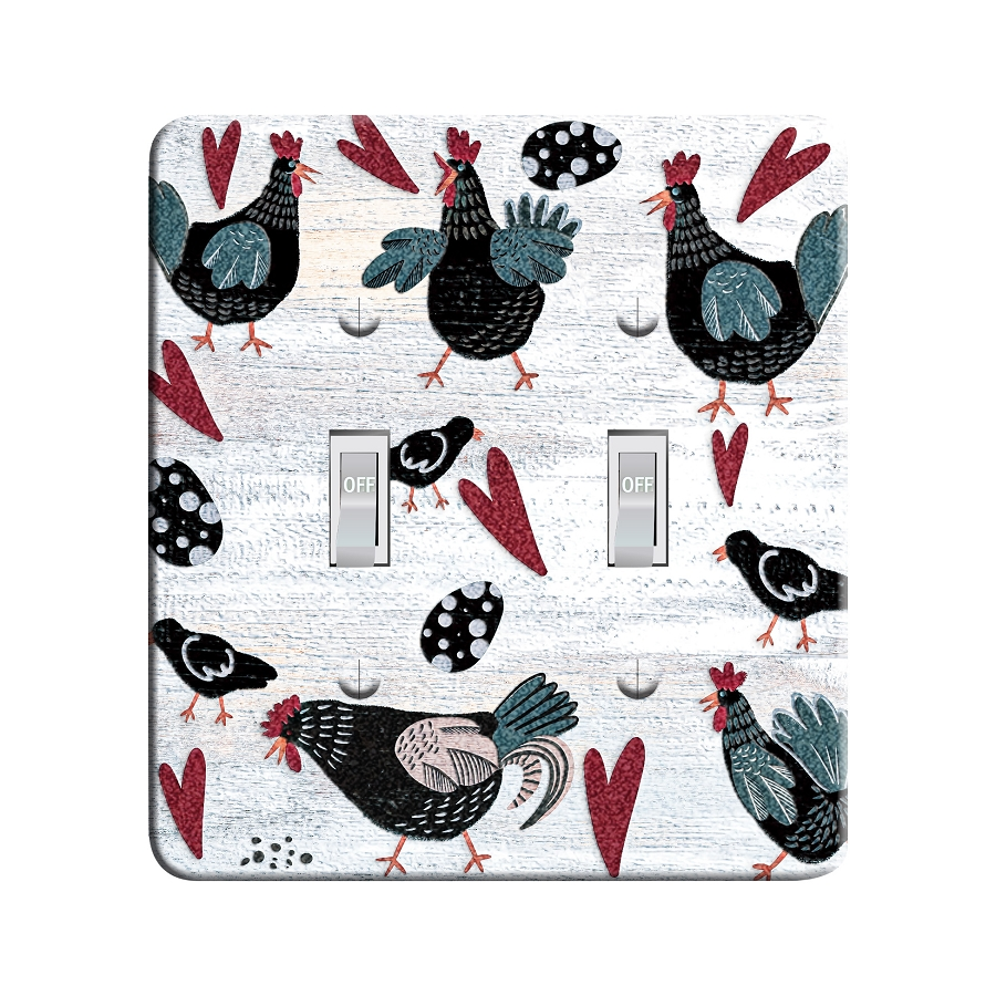 Embossi Printed Maxi Metal Country Chickens Plate - Light Switch / Outlet Cover Custom Plate Choose Style, 0523 L