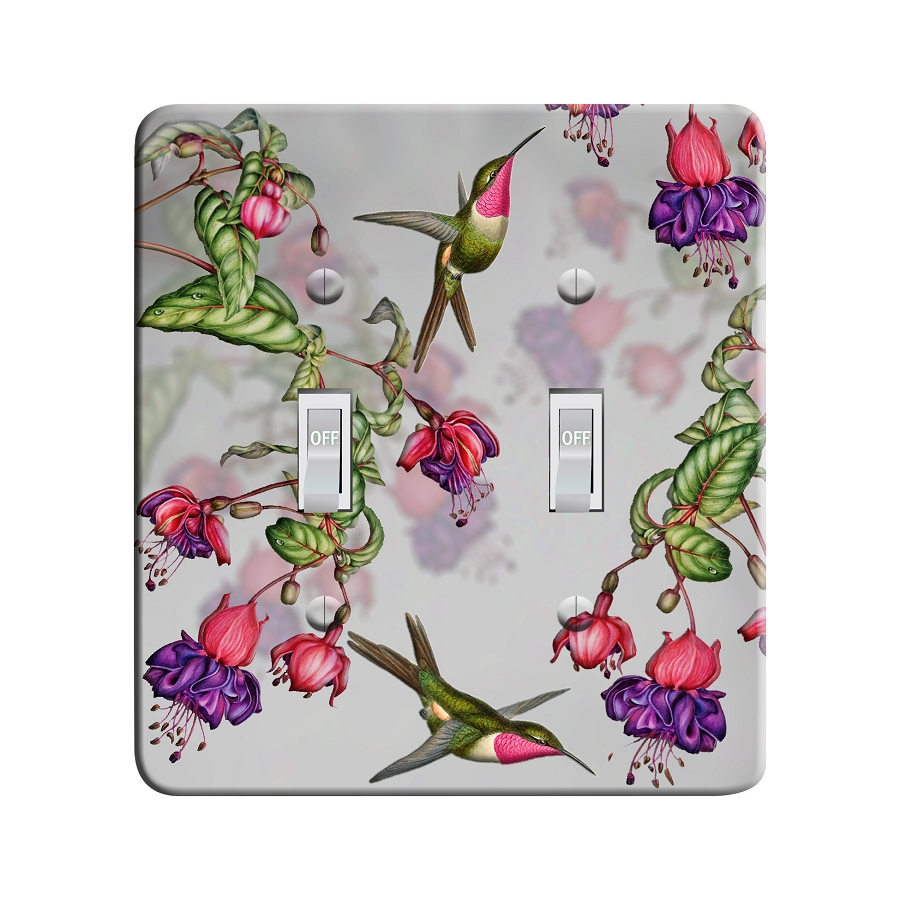 Embossi Printed Maxi Metal Hummingbirds and Fuchsia Branches Plate - Light Switch / Outlet Cover Custom Plate Choose Style, 0524 L