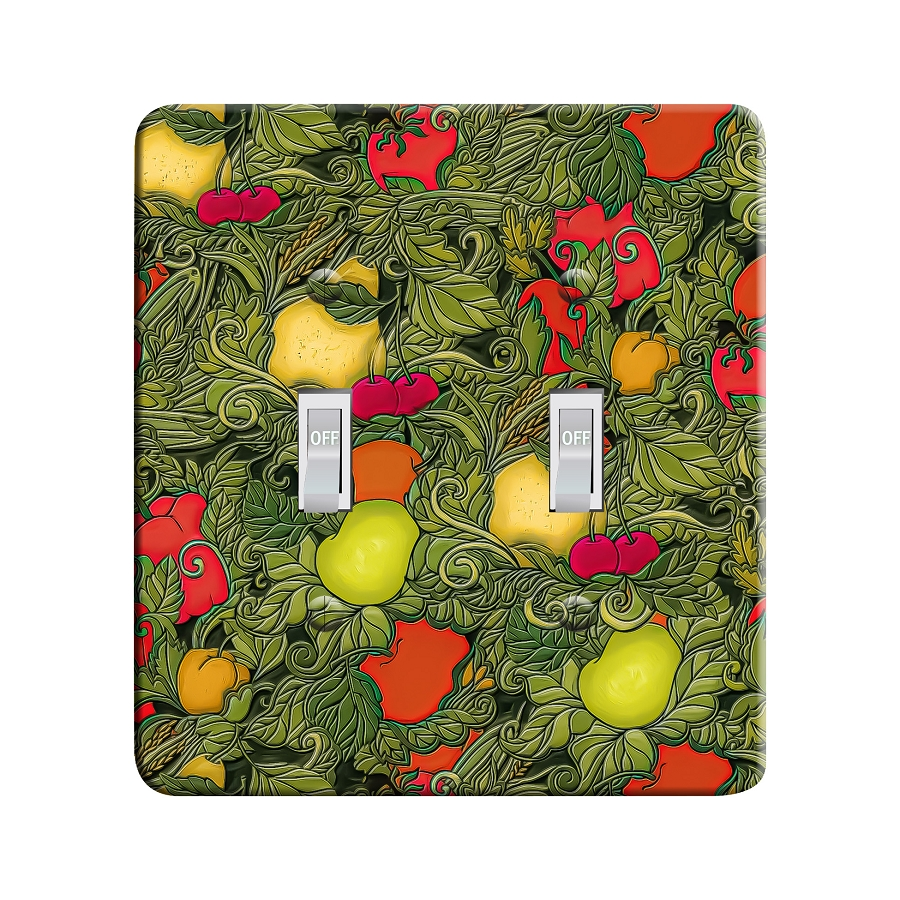 Embossi Printed Maxi Metal Vegetables and Fruit Pattern Plate - Light Switch / Outlet Cover Custom Plate Choose Style, 0525 L