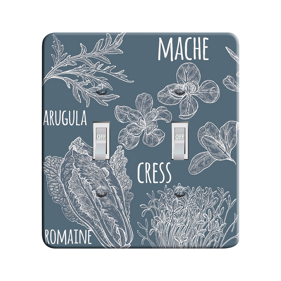Embossi Printed Maxi Metal Line Art Vegetable Greens Plate - Light Switch / Outlet Cover Custom Plate Choose Style, 0528 L