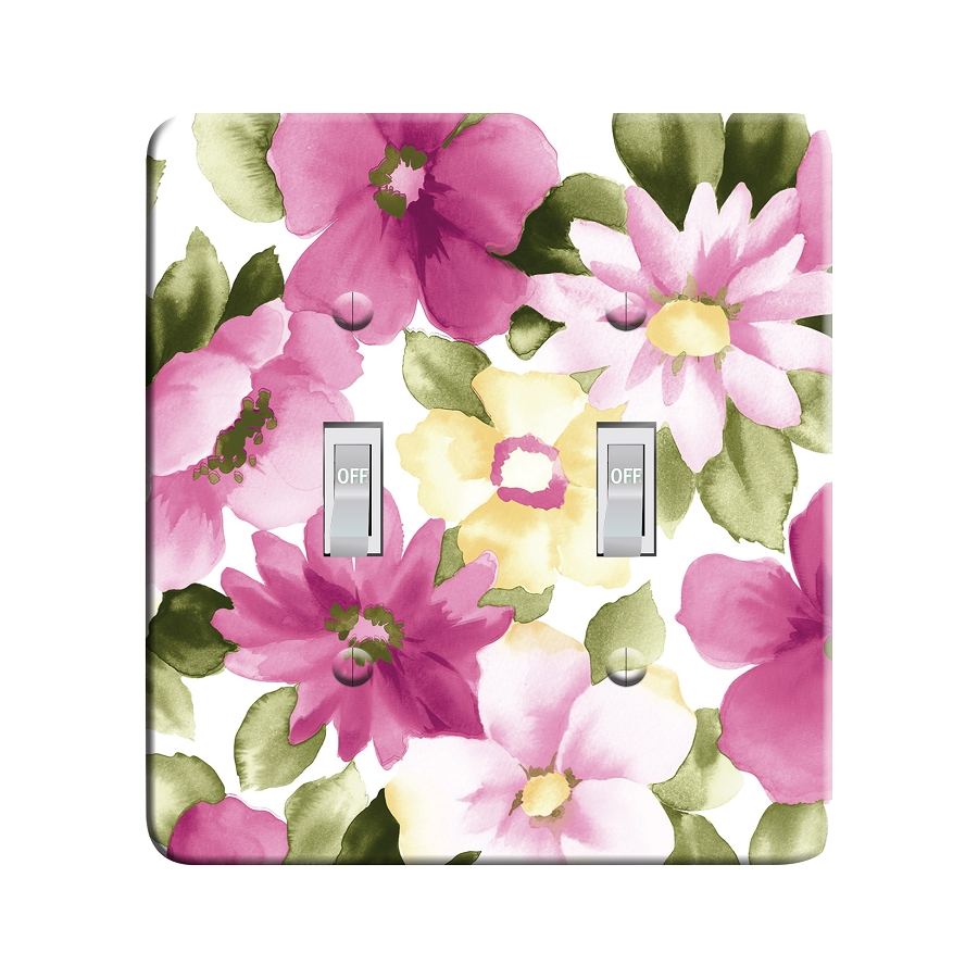 Embossi Printed Floral Pink and White Light Switch / Outlet Cover Custom Plate Choose Style, 58 D