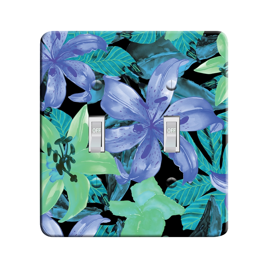 Embossi Printed Blue Lily Light Switch / Outlet Cover Custom Plate Choose Style, 59 D 1
