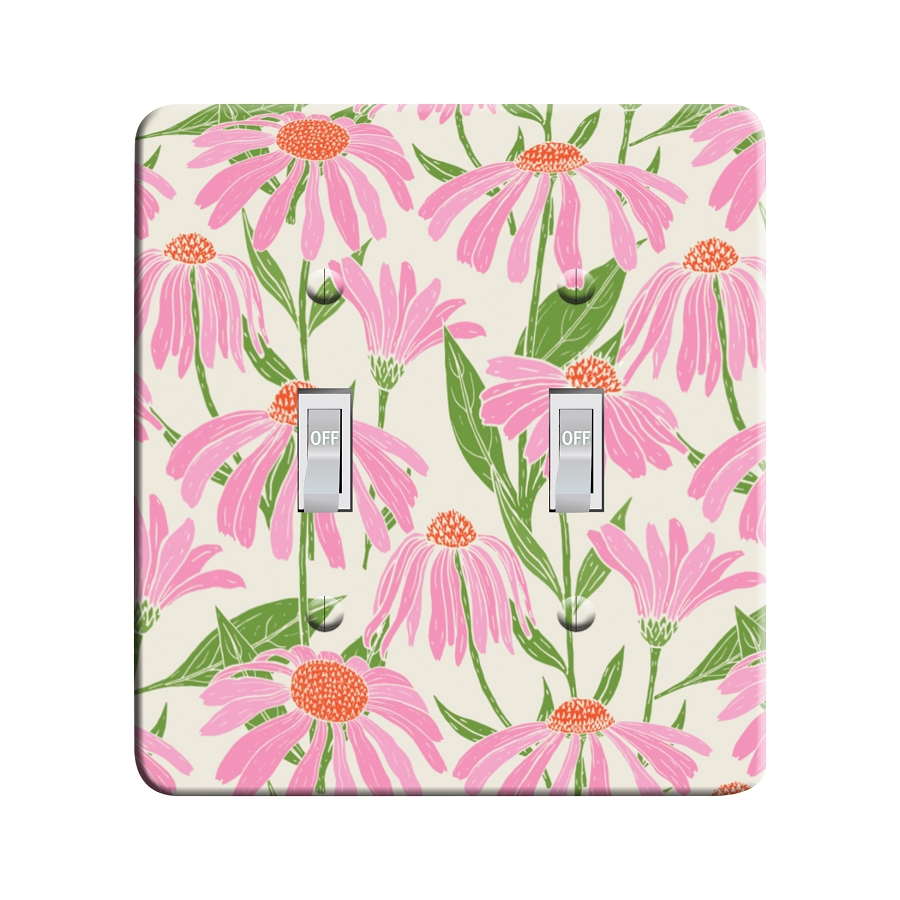 Embossi Printed Echinacea Floral Light Switch / Outlet Cover Custom Plate Choose Style, 702A