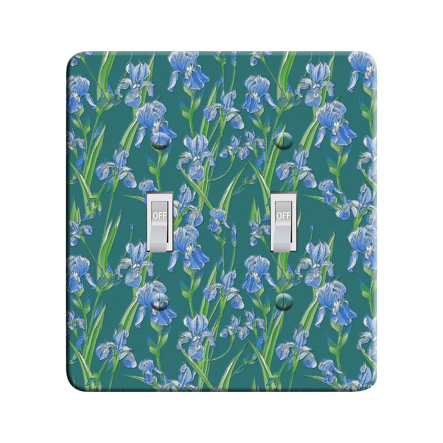 Embossi Printed  Van Gogh Iris Pattern - Light Switch / Outlet Cover Custom Plate Choose Style, 77 DC