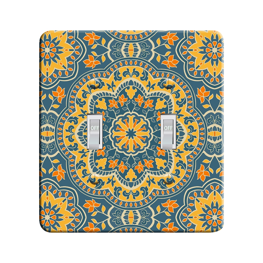 Embossi Printed  Persian Color Mandala 2 - Light Switch / Outlet Cover Custom Plate Choose Style, 82 DB