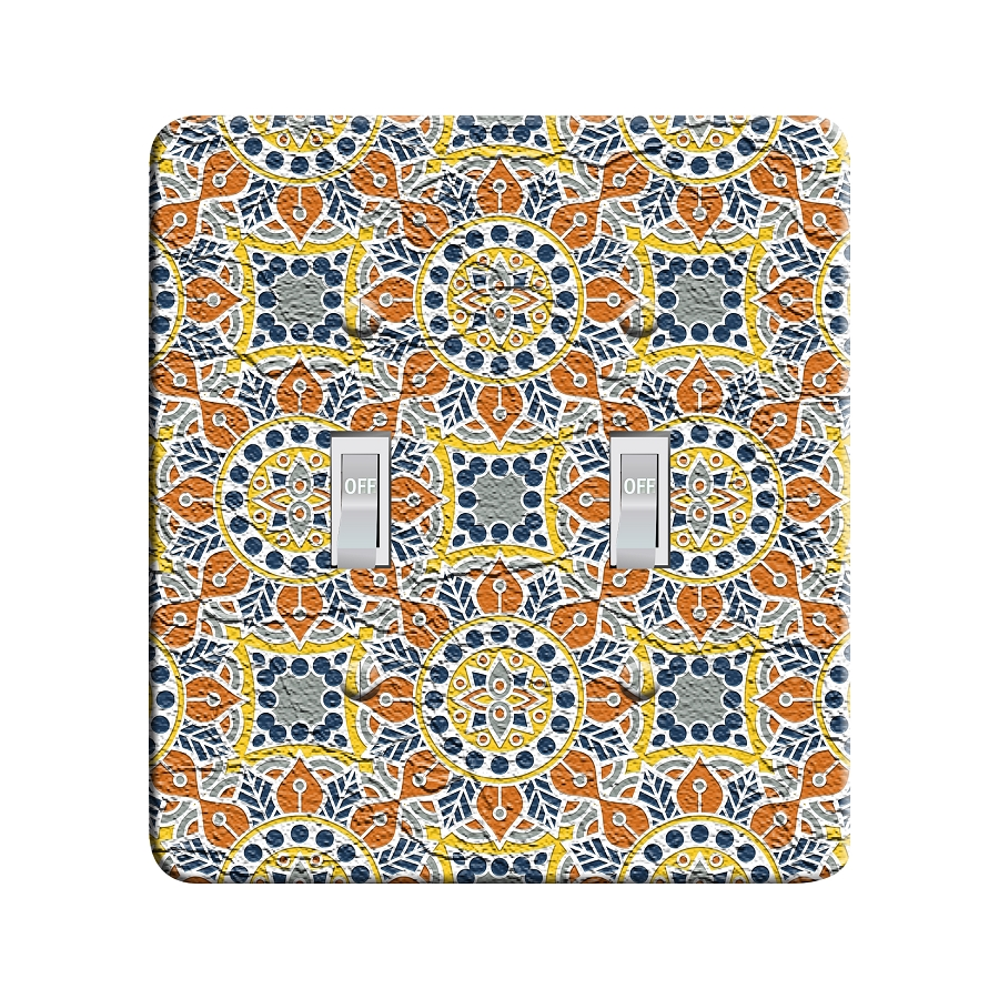 Embossi Printed  Persian Color Mandala 3 - Light Switch / Outlet Cover Custom Plate Choose Style, 82 DC
