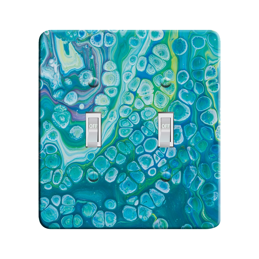 Embossi Printed Blue Cells Acrylic Pour Art Pattern - Light Switch / Outlet Cover Custom Plate Choose Style, 00091 L
