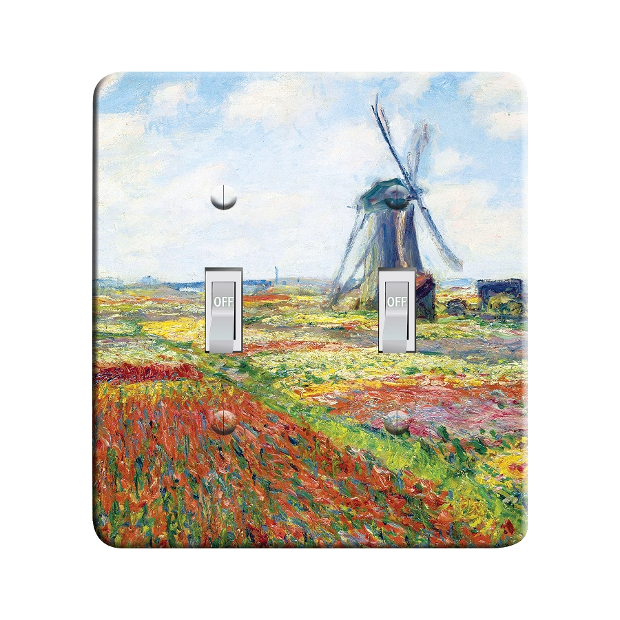 Embossi Printed  Claude Monet - A Field of Tulips in Holland (1886) - Light Switch / Outlet Cover Custom Plate Choose Style, 96 L