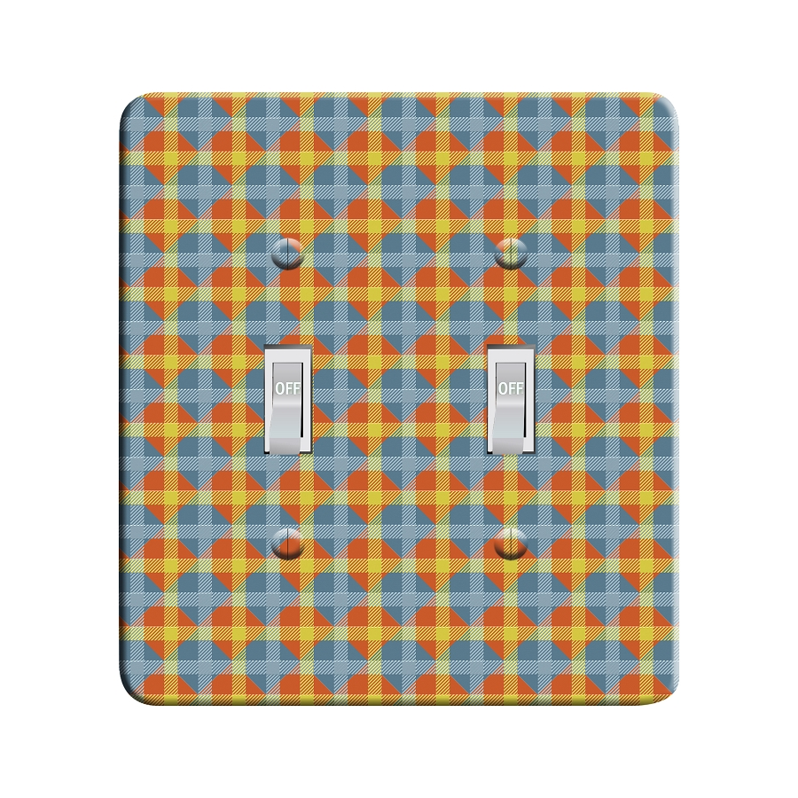 Embossi Printed  Monet Tulip Plaid- Light Switch / Outlet Cover Custom Plate Choose Style, 96 LC